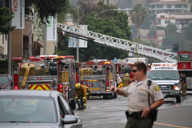 Firefighters responding to a fire at 1401 N. Fairfax Ave. (Photo by Jim Garrecht/ANG NEWS)