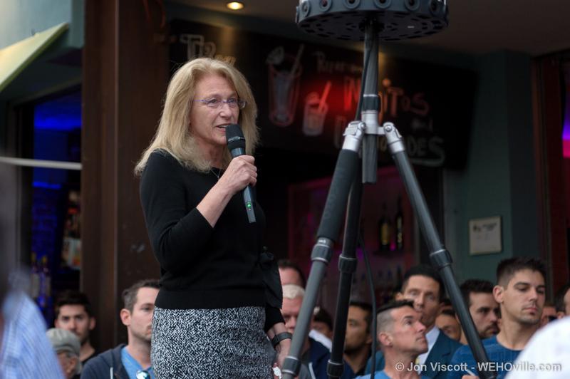 West Hollywood Mayor Lauren Meister speaking at the Orlando vigil on Monday at Mickys bar. (Photo by Jon Viscott).