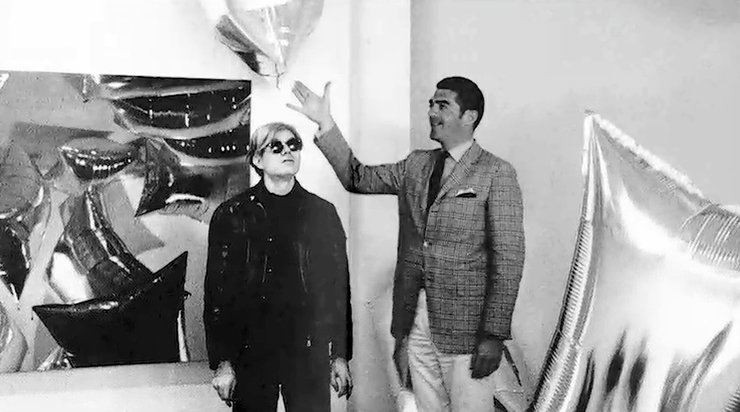 Irving Blum, Ferus Gallery director, during Andy Warhol's first-ever commercial gallery exhibit in July 1962 at 723 N. La Cienega Blvd. (in the unincorporated West Hollywood community). Warhol didn't attend the exhibit opening. (Photo by William Claxton. Courtesy of Demont Photo Management LLC)
