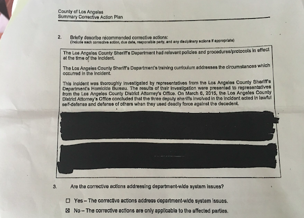 """""""Corrective action"""" redacted from plan by L.A. County Sheriff's Department"""