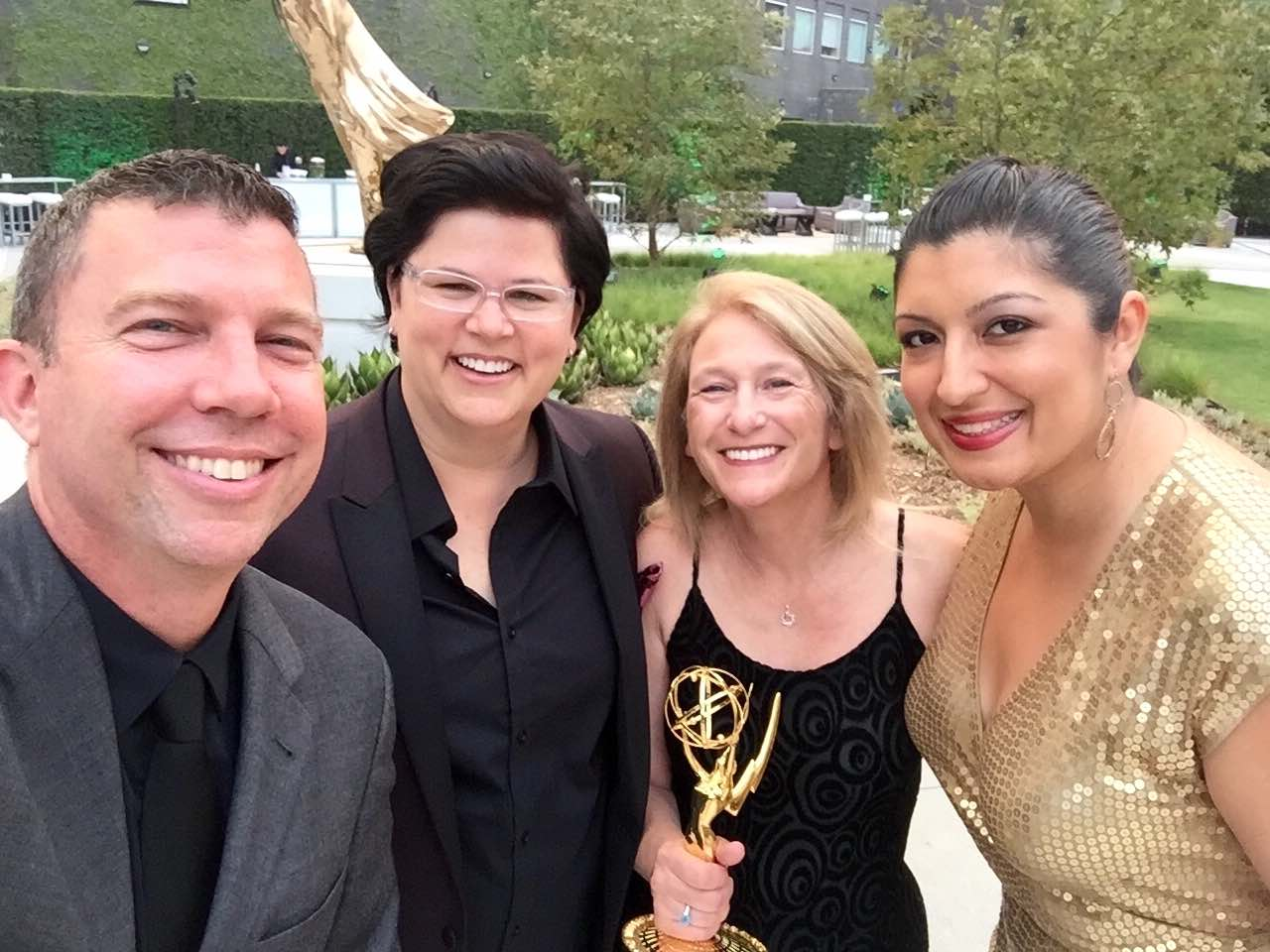 Emmy Award recipients, left to right: Public Information Officer Joshua Schare, Director of Communications Lisa Marie Belsanti, Mayor Lauren Meister and Assistant to the City Manager Janet Jimenez.