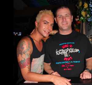 Dennis Meade, aka Dennis Kyocera, right, at Boys Room in Long Beach in 2012 (Facebook)