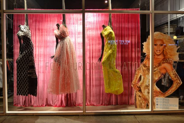 Gowns by Zaldy Goco in the windows of LASC (Photo courtesty of @ohmannequin)