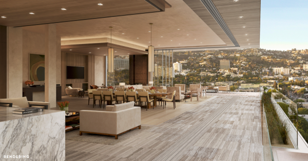 A rendering of the view from a multi-million condo planned for 8899 Beverly Blvd.