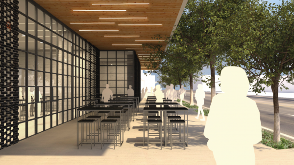 An illustration of an outdoor dining area proposed for the new project replacing the French Market Place on Santa Monica Boulevard.