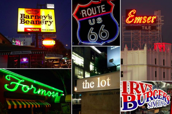 City businesses linked to U.S. Route 66 along Santa Monica Boulevard include: Barney's Beanery, upper left; the Formosa Café, lower left; The Lot movie studios, center; the Emser Tile building, upper right, and Irv's Burgers.