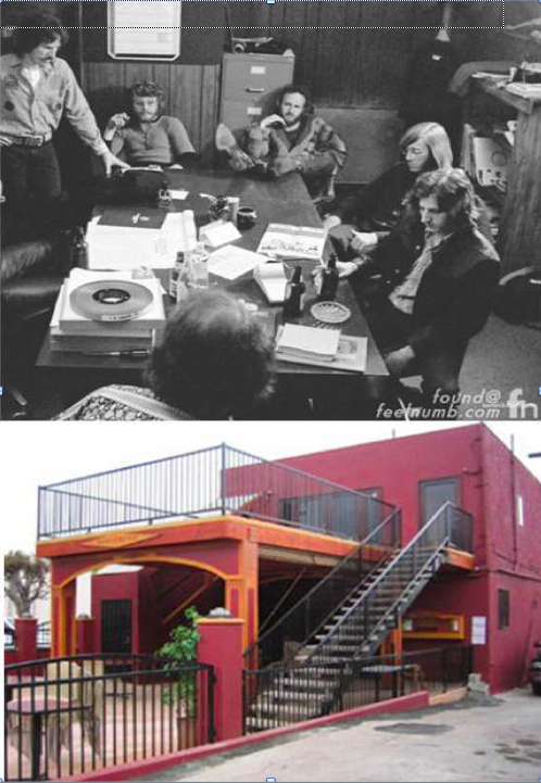 "The Doors' office was located in this building at 8512 Santa Monica Blvd. Jim Morrison laid down the vocal tracks for ""L.A. Woman"" in the men's restroom in the basement . The top photo shows the group during a meeting in their conference room. Route 66 News includes their office and eight other locations on Santa Monica Boulevard in West Hollywood in its ""Rock Landmarks Along Route 66"" list."