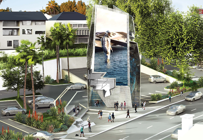Illustration of The Belltower proposed for the Sunset Strip (Tom Wiscombe Architecture)