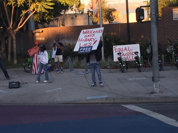 Trump ralliers on the southeast corner of Santa Monica Boulevard at San Vicente.