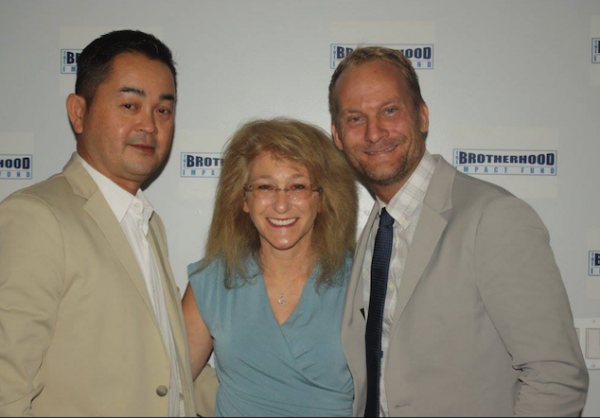 Left to right, Ben Ho of Pacific Lyons Care, WeHo Mayor Lauren Meister and Brotherhood Impact Fund CEO Kevin Stalter at the fund's Friday opening