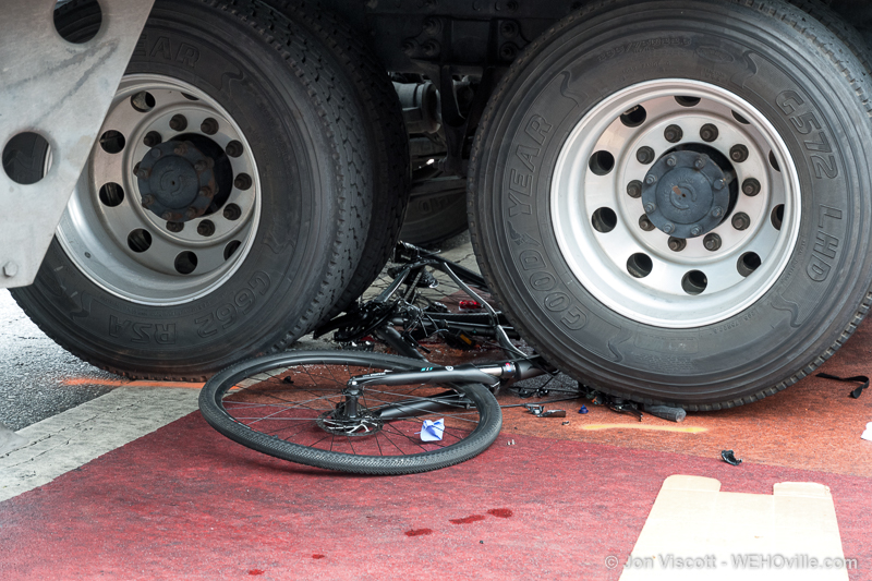Bicycle crushed under truck wheels. (Photo by Jon Viscott)