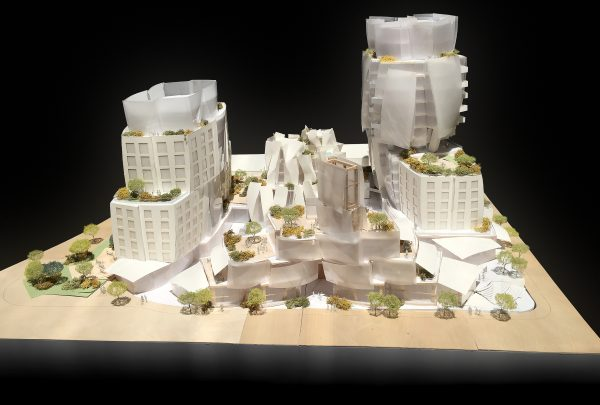 A model of the 8150 Sunset Blvd. project as seen from the north (Gehry Architects LLP)