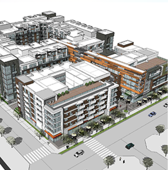 Illustration of the Movietown Square building, on the lower corner of the Avalon West Hollywood project.