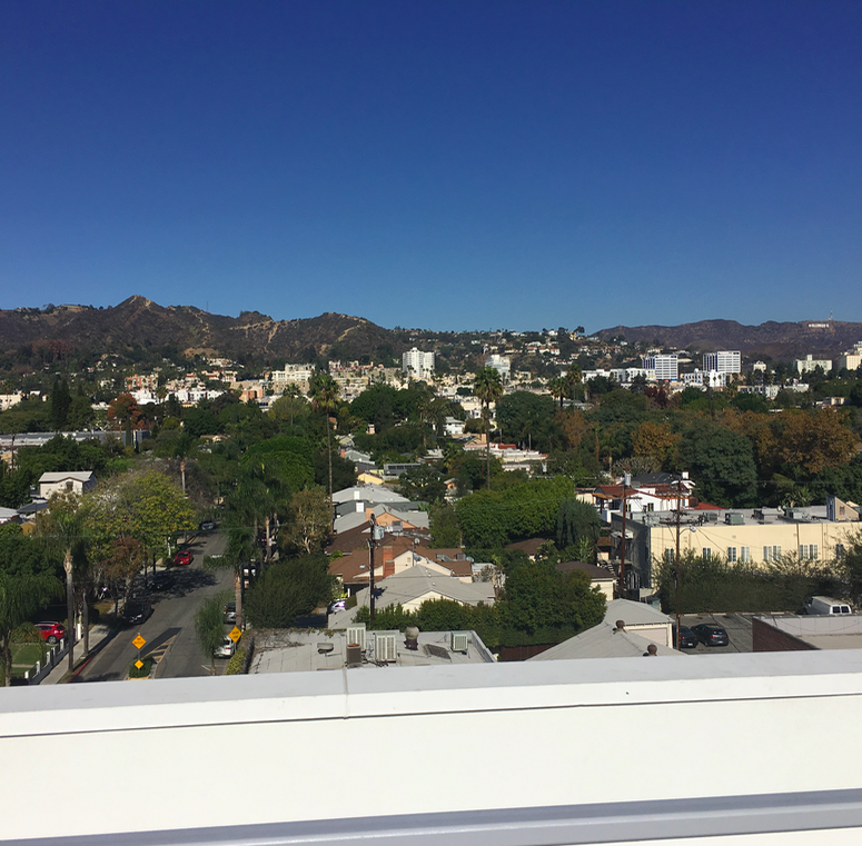 View of the Hollywood Hills from the north-facing terrace of Movietown Square.