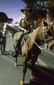 WeHo Sheriff Station Capt. Holly Perez patrolling on horseback.