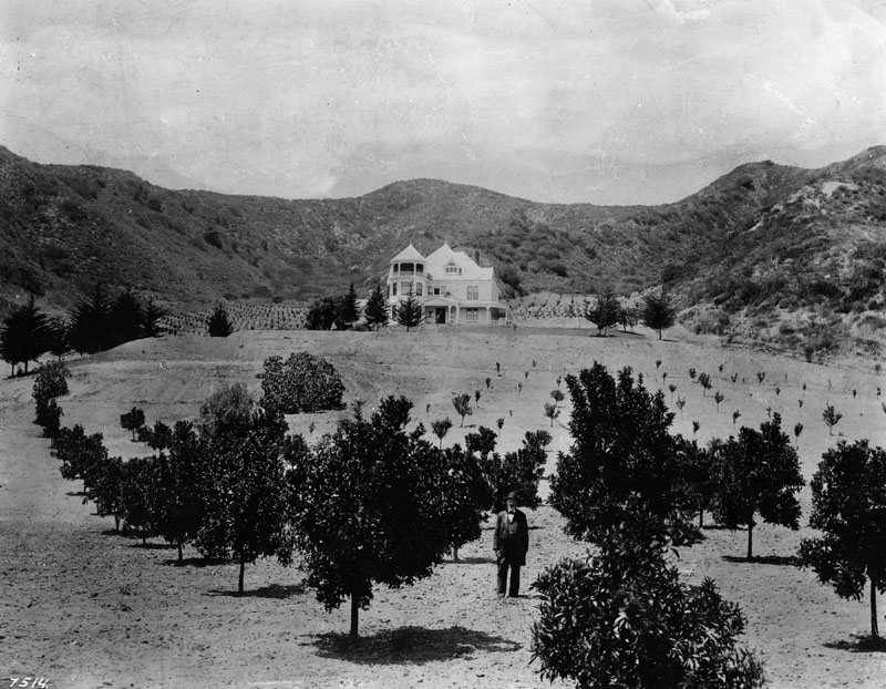 Harper Ranch, shown in this 1895 photo, was one of the earliest farming estates in the Sherman community. The man in the foreground is believed to be Charles F. Harper, a former Confederate army soldier who who moved his family to Los Angeles following the Civil War. (Photographer: Charles C. Pierce, courtesy of California Historical Society, C.C. Pierce Photography Collection)