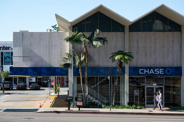The Lytton Savings building (now a Chase bank) at 8150 Sunset Blvd.