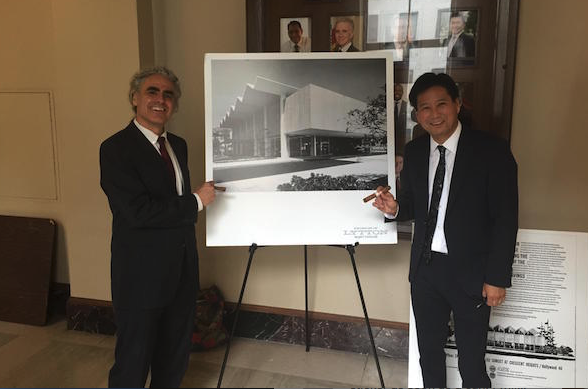 Steven Luftman, left, and Keith Nakata of Friends of Lytton Savings celebrate the L.A. City Council's decision.