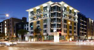The Dylan apartment building on the northwest corner of Santa Monica Boulevard and La Brea Avenue.