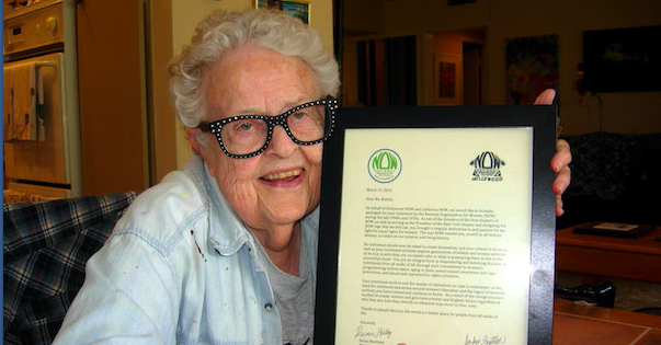 b3d54e60e9 Ivy Bottini holding a copy of the letter from NOW Hollywood and NOW  California apologizing for her being pushed out of the organization (Photo  by James ...