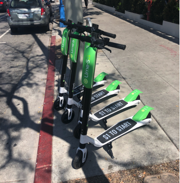 Lime S Electric Scooters In Front Of Shake Shack On Santa Monica Boulevard West Hollywood