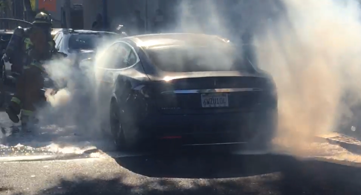 Tesla auto allegedly bursts into flames in Southern California traffic
