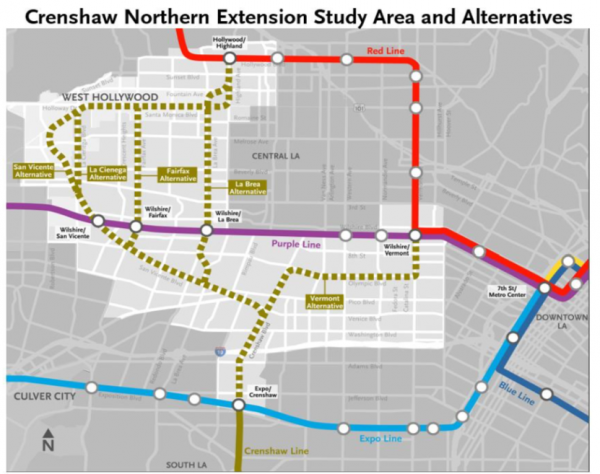 La Subway Map With City Map.Metro Board To Review 5 Transit Line Extension Options Four Of