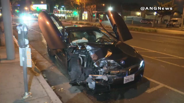deputies find wrecked bmw abandoned on fairfax avenue wehoville