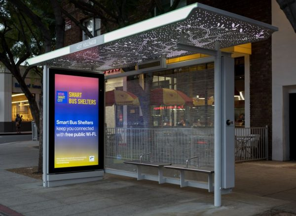 Smart City bus stop (Photo by Jon Viscott, courtesy of the City of West Hollywood)